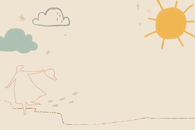 Vector de fondo de clima soleado en marrón con lindas ilustraciones de doodle