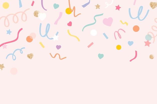Vector de fondo de confeti en lindo patrón rosa pastel