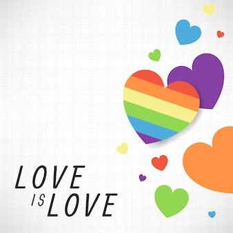 Vector de fondo de corazones de color arco iris