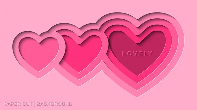 Vector de fondo de corte de papel rosa encantador con corazón profundo corte de papel estilo plano