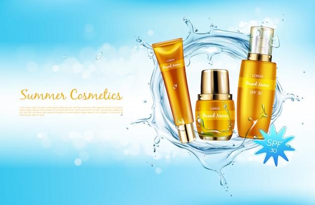 Vector el fondo cosmético realista, bandera del promo para los cosméticos del spf del verano.