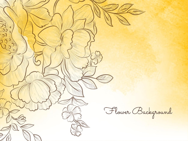 Vector de fondo decorativo pastel amarillo flor de estilo dibujado a mano