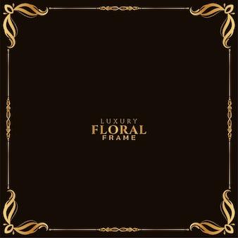 Vector de fondo de diseño de marco floral dorado ornamental