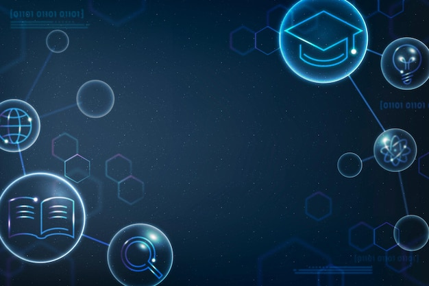 Vector de fondo de educación científica geométrica en remix digital azul degradado