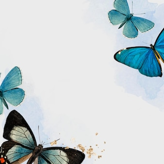 Vector de fondo estampado mariposas azules