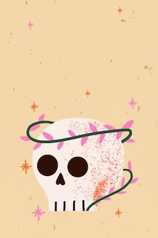 Vector de fondo de halloween de dibujos animados, lindo cráneo espeluznante