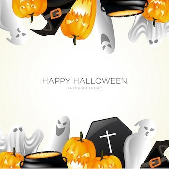Vector de fondo de halloween fantasma calabaza y olla