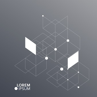 Vector de fondo de hexágonos. conexión, red genética, científica, química y social.