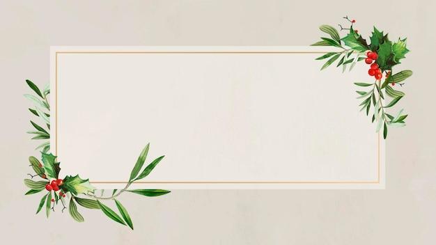 Vector de fondo de marco de navidad rectangular festivo en blanco