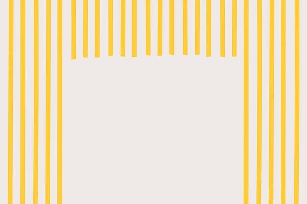 Vector de fondo de marco de rayas de espagueti en estilo doodle amarillo
