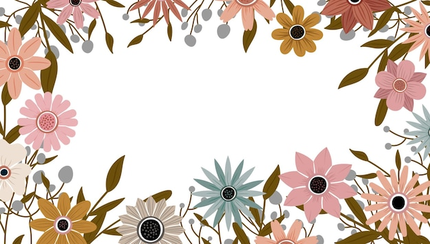 Vector de fondo de naturaleza de arte abstracto. marco de plantas de moda. diseño de flores de color de fondo, hermoso jardín decorativo. hojas botánicas y diseño floral para banner de venta de verano.