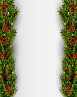 Vector fondo de navidad con árbol de navidad realista