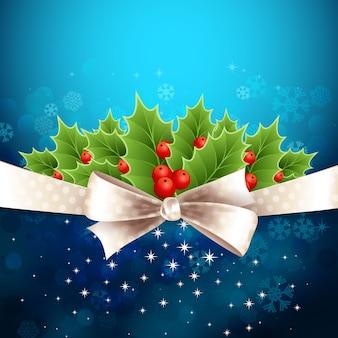 Vector fondo de navidad con arco y acebo