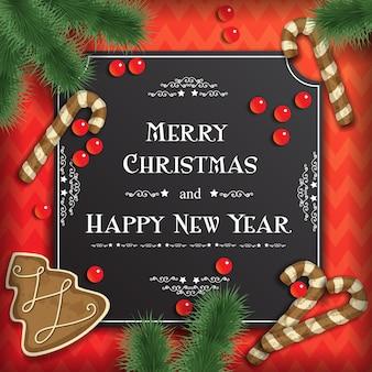 Vector fondo de navidad con tarjetas de felicitación, pan de jengibre festivo, cuentas y ramas de árbol de navidad en rojo.