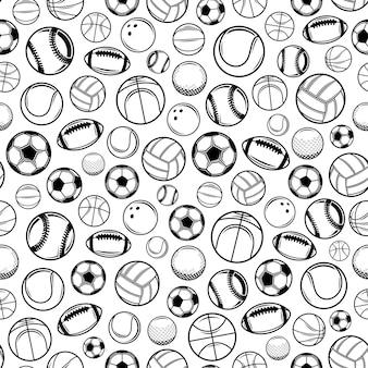 Vector de fondo o patrón sin fisuras de bolas de deporte blanco y negro