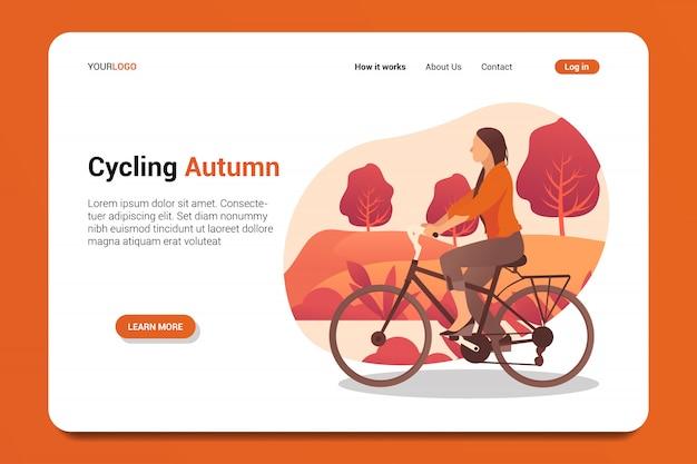 Vector de fondo de página de aterrizaje de otoño ciclismo