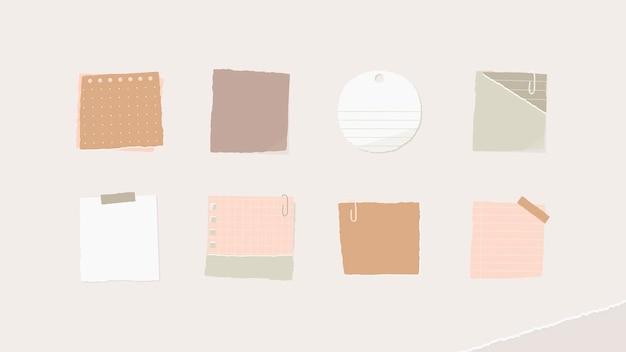 Vector de fondo de pantalla de colección de notas de papel colorido