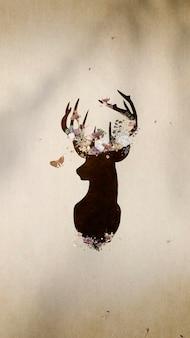 Vector de fondo de pantalla de teléfono móvil de pintura de silueta de cabeza de ciervo