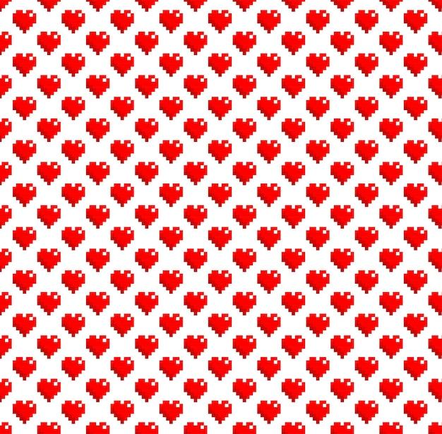 Vector de fondo de patrón de corazón de pixel art