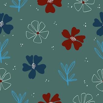 Vector de fondo de patrón floral elegante lindo inconsútil