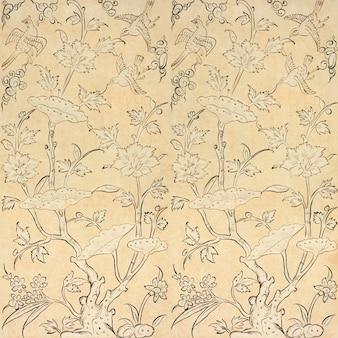Vector de fondo de patrón floral de pájaro vintage, con obras de arte de dominio público