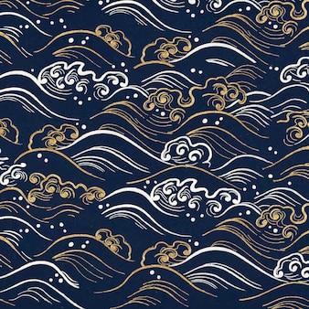 Vector de fondo de patrón de onda azul, con obras de arte de dominio público