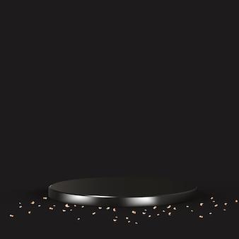 Vector de fondo de producto 3d de lujo en negro con confeti dorado