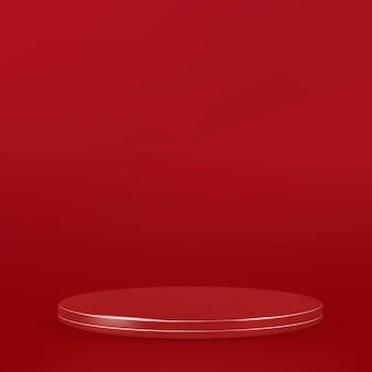 Vector de fondo de producto 3d con podio de visualización en tono rojo