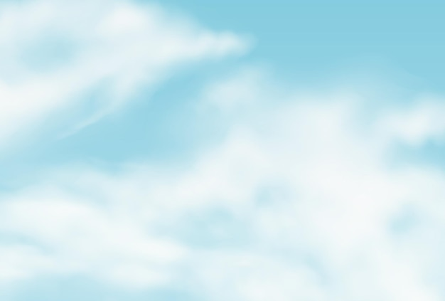 Vector fondo realista con nubes de verano. textura de ilustración de cielo mullido nublado. tormenta, telón de fondo de efectos de nube de lluvia. plantilla de concepto de clima de atmósfera