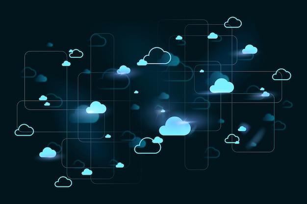 Vector de fondo del sistema de red en la nube para banner de redes sociales