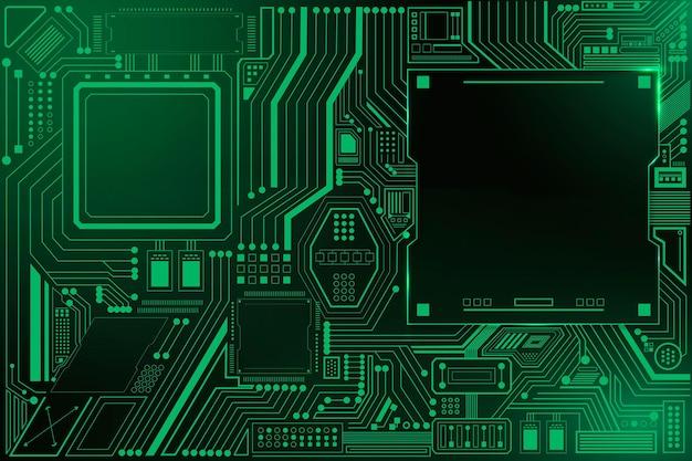 Vector de fondo de tecnología de circuito de placa base en verde degradado