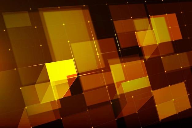 Vector de fondo de tecnología de cuadrícula digital en tono dorado