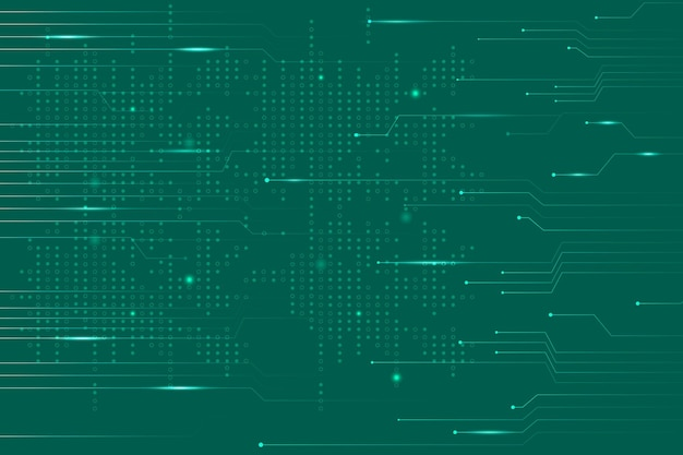 Vector de fondo de tecnología de datos verde con líneas de circuito