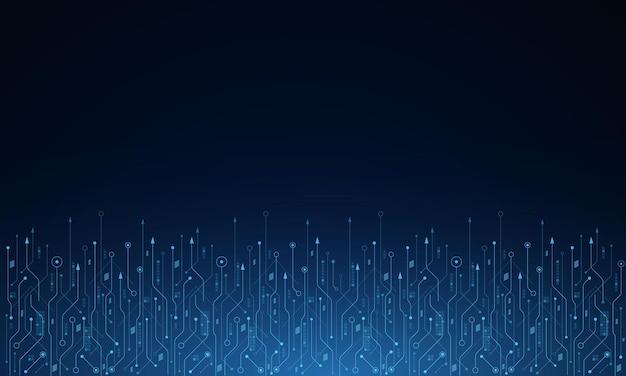 Vector de fondo de tecnología futurista, placa base electrónica, concepto de comunicación e ingeniería