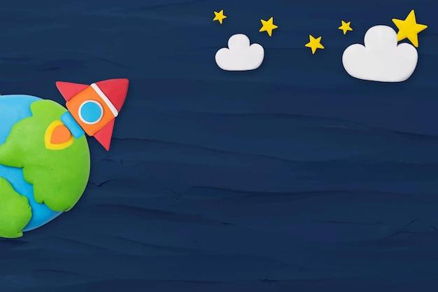 Vector de fondo con textura de cohete espacial en artesanía de arcilla de plastilina azul para niños