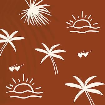 Vector de fondo de vacaciones de verano marrón con lindos gráficos de doodle