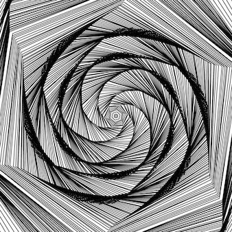 Vector de formas redondas remolino diseño plantilla patrón de concha fondo de túnel abstracto