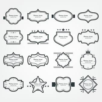 Vector frame set decoración vintage ornamental
