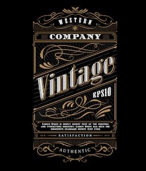 Vector de frontera de tipografía vintage marco occidental etiqueta
