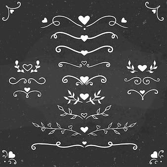 Vector fronteras románticas, divisores y florituras, ilustración vectorial