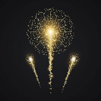 Vector de fuegos artificiales de oro