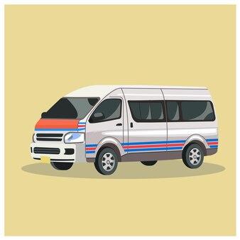 Vector de furgoneta tailandesa, mini furgoneta, transporte de bangkok.