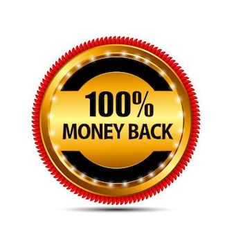 Vector de garantía de devolución de dinero, signo de oro, etiqueta