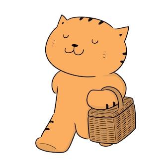 Vector de gato y cesta de mimbre.