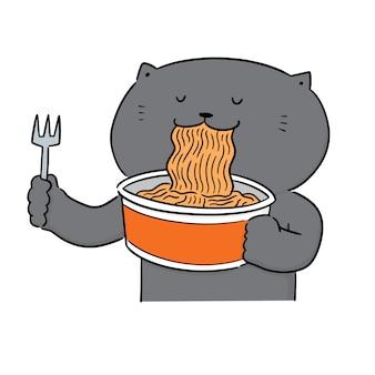 Vector de gato comiendo fideos