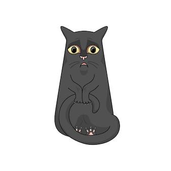 Vector gato negro está muy sorprendido, desanimado, presiona su cola con sus patas