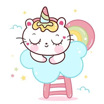 Vector de gato unicornio dormir en la nube