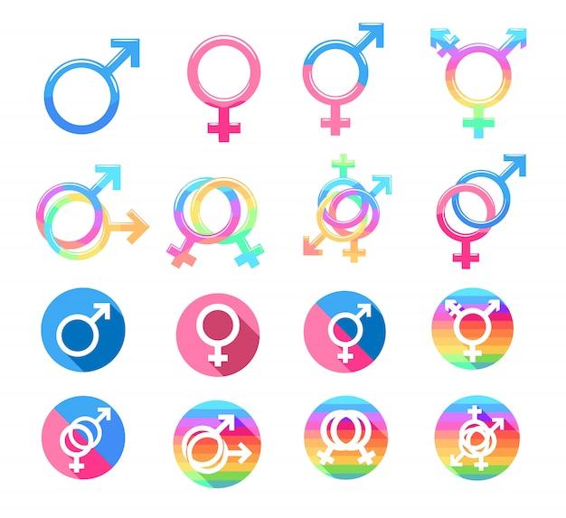 Vector de género establece diseño gráfico
