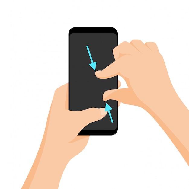 Vector de gestos multitáctiles para tabletas y smartphone.