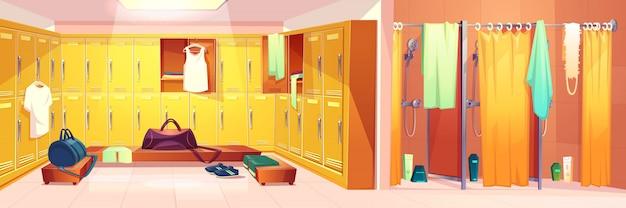 Vector gimnasio interior - vestuario con taquillas y cabinas de ducha con cortinas